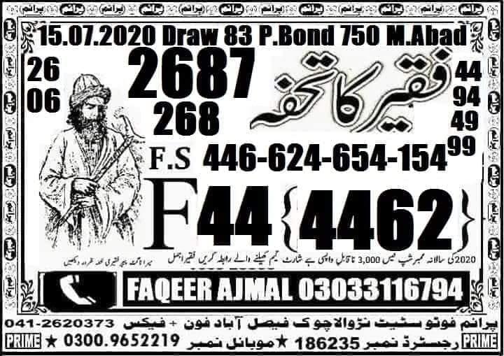 Faqeer Ka Tohfa New Guess Paper 750 Prize Bond Draw No 83 Date 15.07.2020 Faqeer Ajmal 03033116794