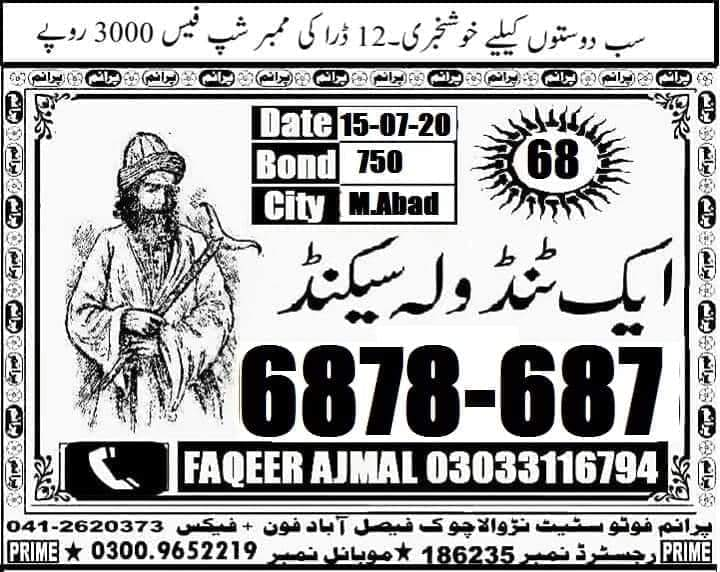 aak Tendola Second New Guess Paper 750 Prize Bond Draw No 83 Date 15.07.2020 Faqeer Ajmal 03033116794 posted by Faqeer Ajmal